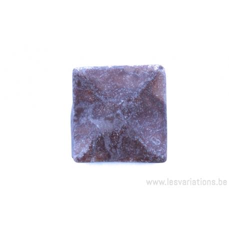 Perle en pierre naturelle - rectangulaire - marbre - rose foncé