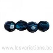 Perle en verre à facettes - bleu turquoise x10