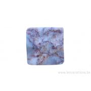 Perle en pierre naturelle - carrée - marbre - rose - trou sur l'angle