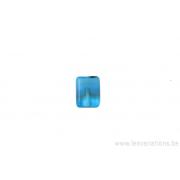 Perle en verre rectangulaire - bleu clair transparent - opaque et noir
