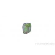 Perle en verre rectangulaire tordue- vert transparent mat et brillant