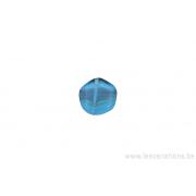 Perle en verre ronde dissymétrique en forme de roue - bleu ligné / brun