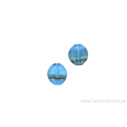Perle asymétrique aplatie - bleu - ligné x 4