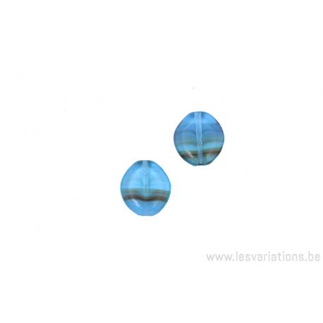 Perle ronde dissymétrique aplatie - bleu - ligné brun