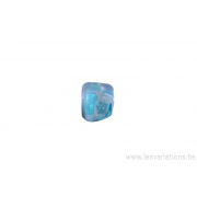 Perle en verre rectangulaire tordue - transparent reflet bleu turquoise/ nacré