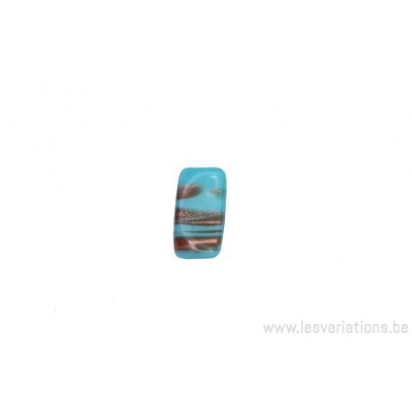Perle en verre rectangulaire tordue - bleu turquoise - ligné doré