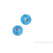 Perle en verre ronde - bleu - feuille argenté