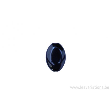 Perle en verre ovale plate - noir