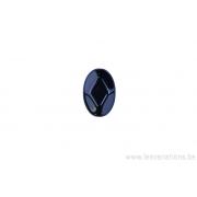 Perle en verre ovale plate à facettes - noir x 4
