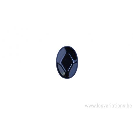 Perle en verre ovale plate à facette - noir