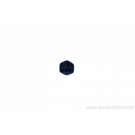 Perle en verre carrée trou sur en coin - noir