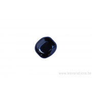 Perle en verre rectangulaire plate à bord arrondi -noir