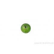 Perle ronde -vert pomme - feuille d'argent