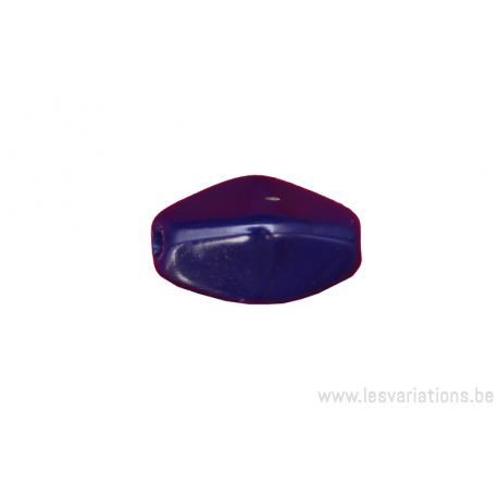 Perle en verre octogonale - bleu foncé