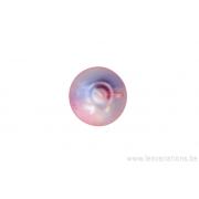 Perle en verre ronde transparante bleue claire