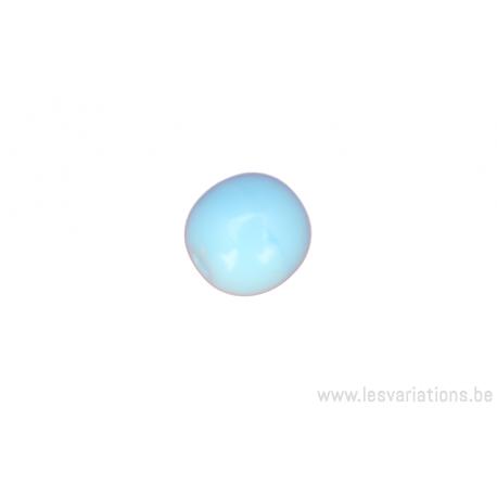 Perle en verre ronde - bleu clair