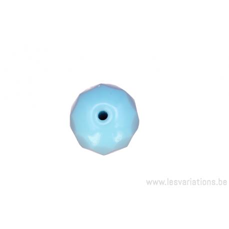 perle en verre ronde en forme de roue à facette - bleu clair