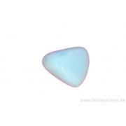 Perle en verre - 3 faces triangulaires - bleu clair