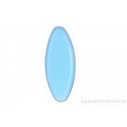 Perle en verre ovale - allongée aplatie - bleu clair