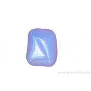 Perle en verre rectangulaire - côtés arrondis - bleu clair