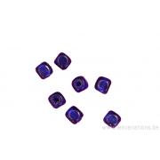 Perle en verre - carrée - bleu foncé x 20