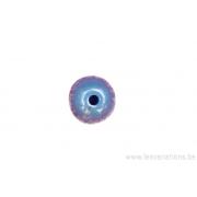 Perle de verre ronde - bleu gris x 10