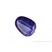 Perle en verre forme de poire - ligne horizontale plus claire - bleu foncé x 4