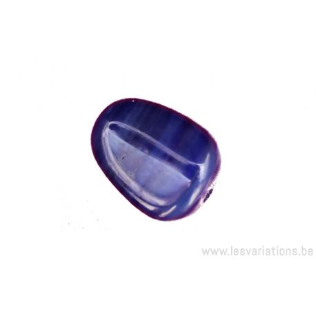 Perle en verre forme de poire - ligne horizontale plus claire - bleu foncé