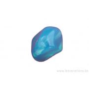 perle en verre dissymétrique (osselet) - bleu turquoise