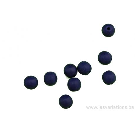 Perle en verre - ronde - bleu foncé