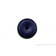 Perle de verre en forme de roue- bleu foncé x 10