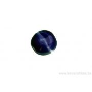 Perle en verre - ronde - bleu tigré foncé et clair