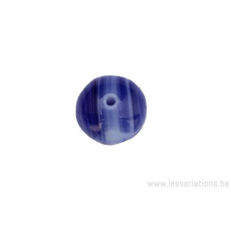 Perle ronde en forme de roue - bleu tigré foncé et clair