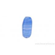 Perle en verre rectangulaire allongée - bleu tigré foncé et clair