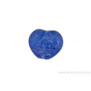 Perle en verre en forme de cœur - bleu tacheté transparent