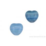 Perle en verre en forme de cœur - tigré bleu clair / blanc