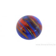 Perle en verre d'artisan -ronde - bleu nuage de jaune - orange