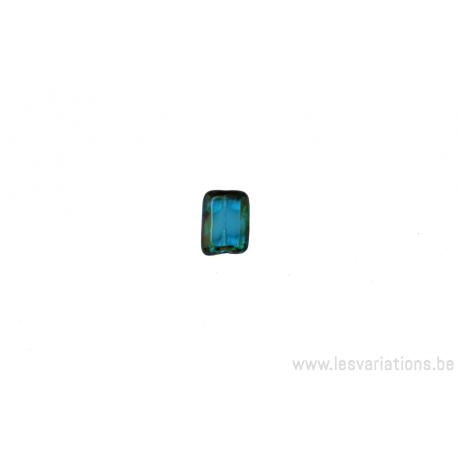 Perle en verre rectangulaire aplatie multi couleur vert / bleu/ brun