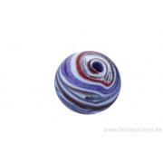 Perle en verre d'artisan -ronde - bleu / blanc/rouge