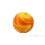 Perle en verre d'artisan -ronde - jaune feuille orange