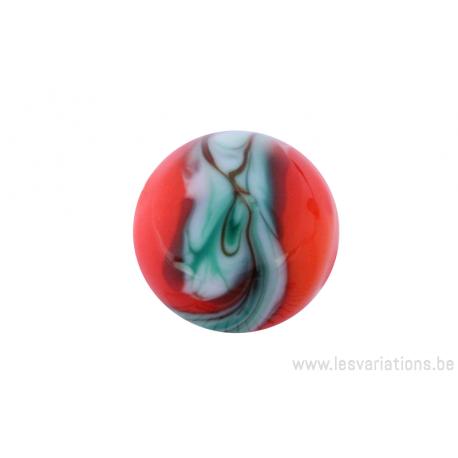 Perle en verre d'artisan -ronde - orange nuage vert