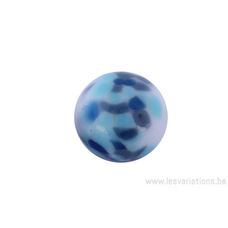 Perle en verre d'artisan -ronde - blanche différents pois bleu