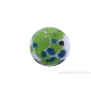 Perle en verre d'artisan - ronde - blanche différents pois bleu et vert
