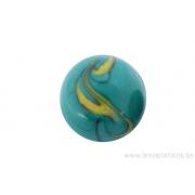 Perle en verre d'artisan -ronde - vert nuage jaune
