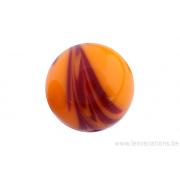 Perle en verre d'artisan -ronde - orange nuage bordeaux
