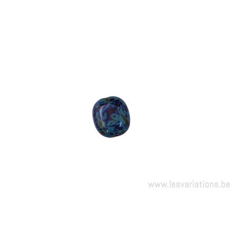 Perle en verre rectangulaire aplatie multi couleur vert / bleu / brun