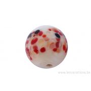 Perle en verre d'artisan -ronde - blanc crème - différents pois rouge / noir /jaune