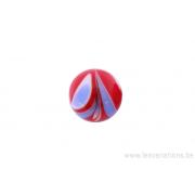Perle en verre d'artisan -ronde - rouge feuille bleu