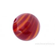 Perle en verre d'artisan -ronde - bordeaux - feuille orange