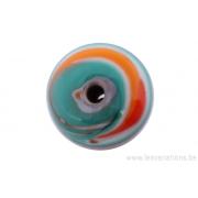 Perle en verre d'artisan -ronde - gris /vert /orange